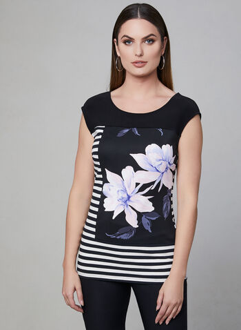 Frank Lyman - Stripe & Floral Print Top, Black, hi-res