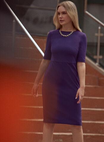 Elbow Sleeve Sheath Dress, Purple,  fall winter 2021, dress, day dress, corporate, work, crew neck, elbow sleeve, sheath, belt, golden, hammered metal, buckle, back zipper, exposed zipper, crepe, fitted