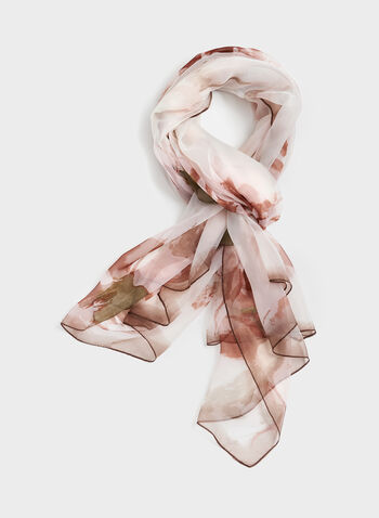 Faded Floral Print Scarf, Off White, hi-res