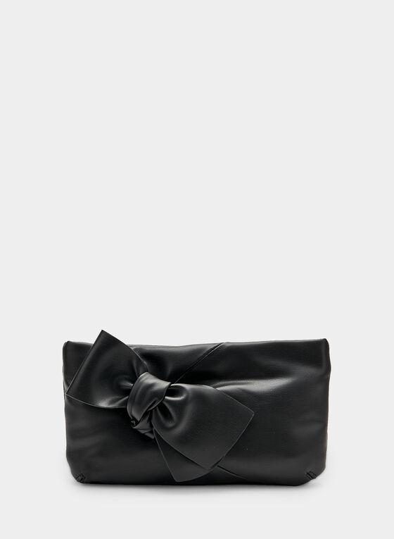 Pochette en similicuir et détail nœud, Noir