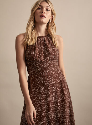 Adrianna Papell - Dot Print Maxi Dress, Brown,  spring summer 2020, dot print, chiffon, halter neckline, sleeveless