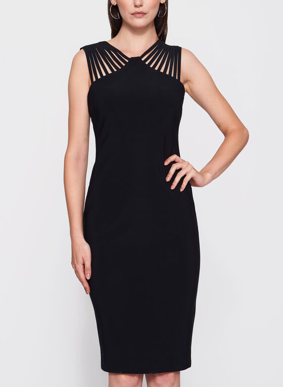 Frank Lyman - Lace Effect Yoke Jersey Dress, Black, hi-res