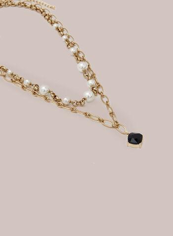 Collier à maillons, perles et pierre facettée, Noir,  collier, pierre facettée, maillon, perles, automne hiver 2020