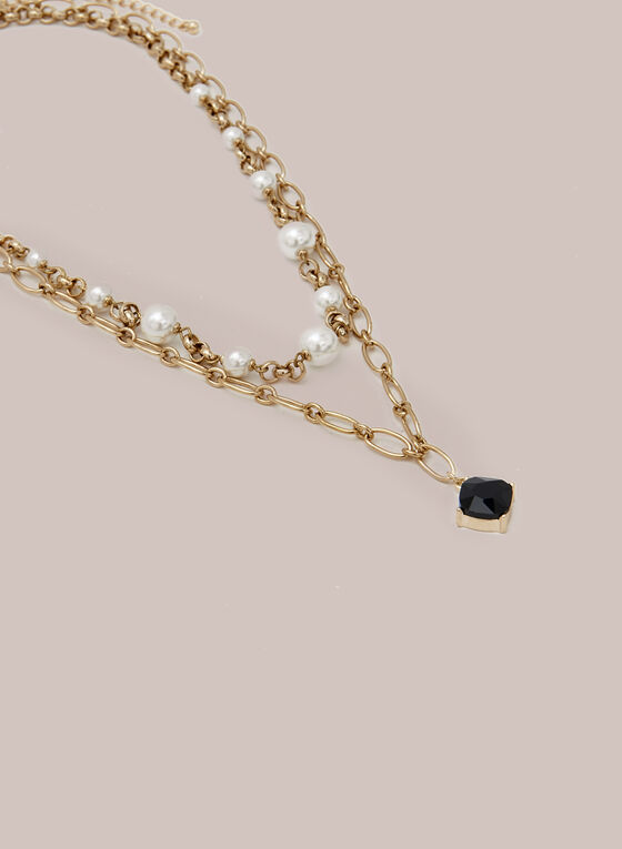 Collier à maillons, perles et pierre facettée, Noir