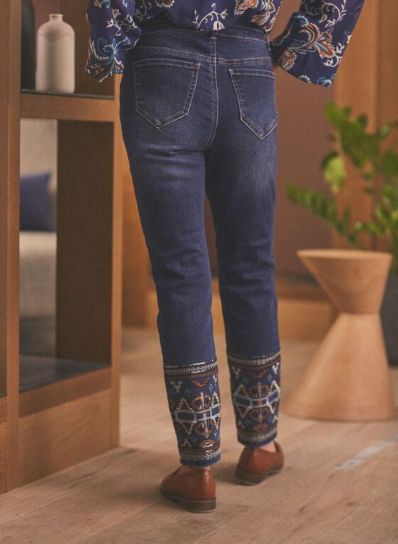 Embroidered Hem Slim Leg Jeans, Blue