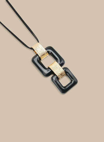Long Square Pendant Necklace, Black,  necklace, long, pendant, square, golden, spring summer 2020