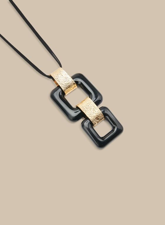 Long Square Pendant Necklace, Black