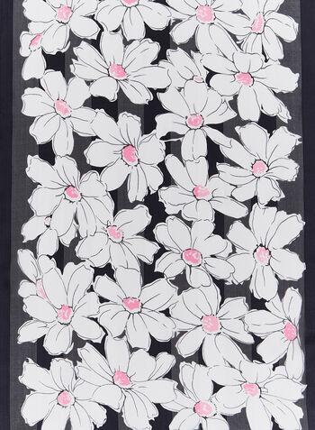 Foulard léger floral en soie, Noir, hi-res