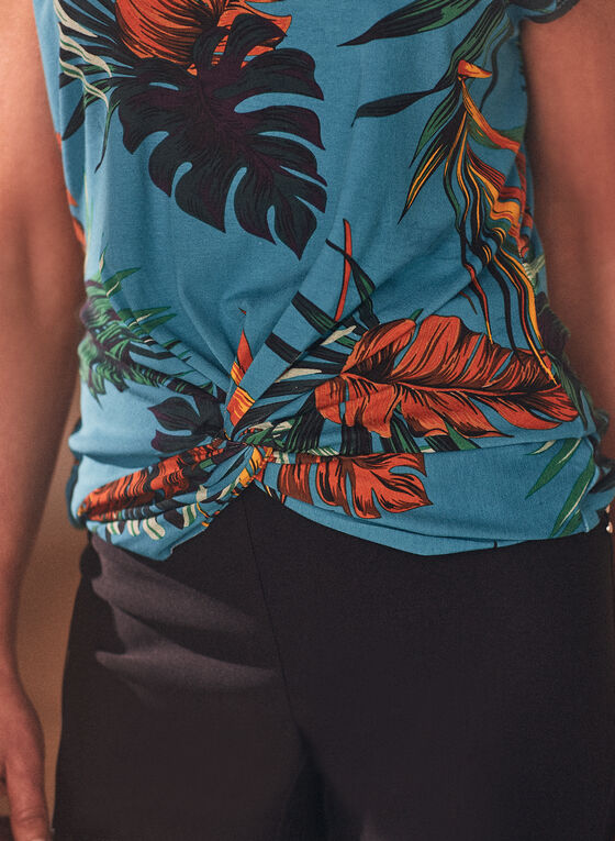Short Sleeve Tropical Print Top, Blue