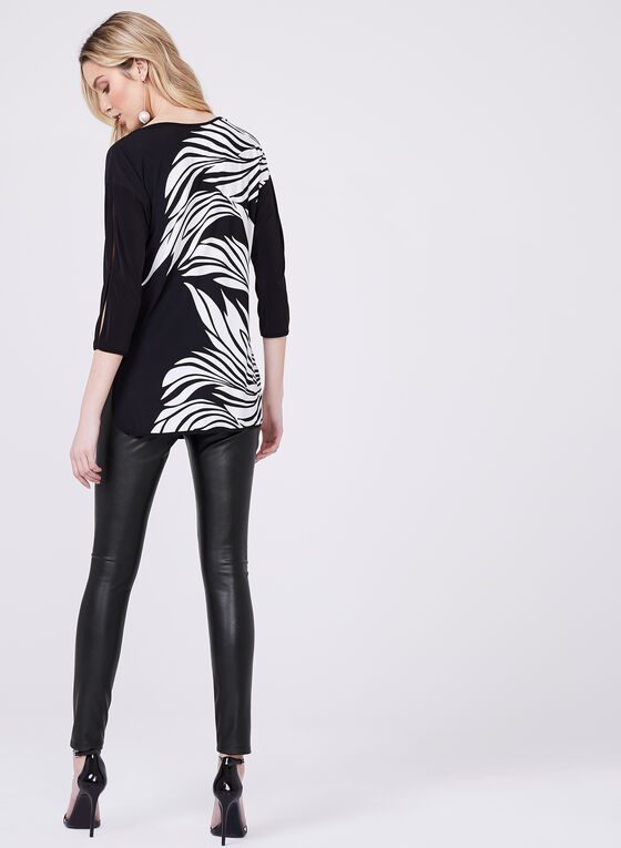 Frank Lyman - ¾ Sleeve Graphic Blouse, Black, hi-res