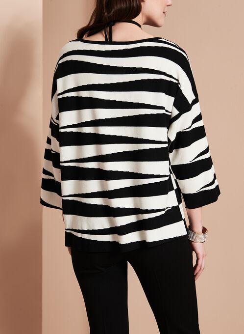 Haut en tricot imprimé à manches trois quarts , Noir, hi-res