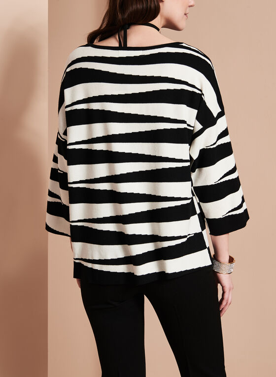 3/4 Sleeve Graphic Knit Top, Black, hi-res