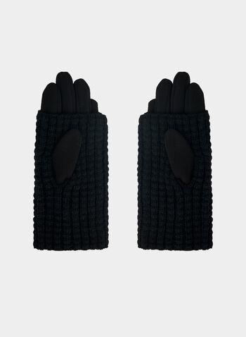Rabbit Pompom Gloves, Black,  gloves, pompom, rabbit fur, fur, fall 2019, winter 2019