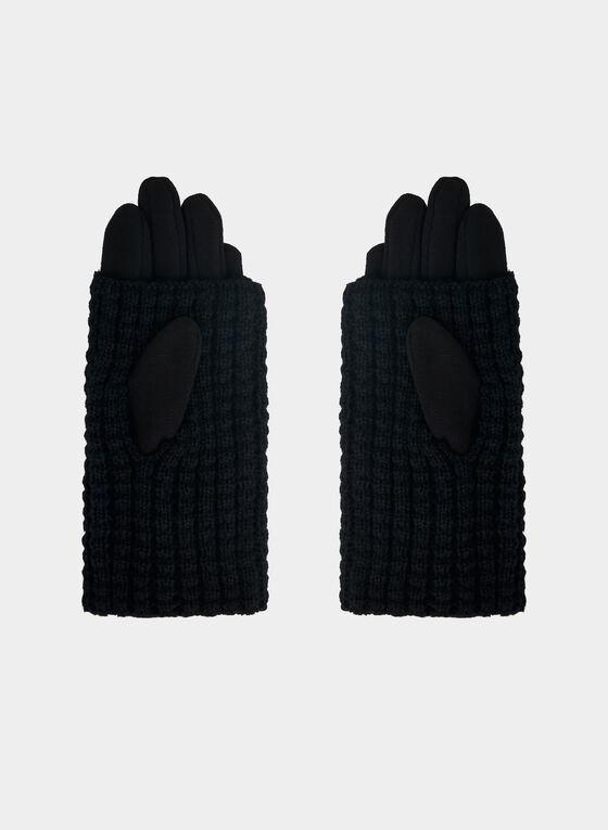 Rabbit Pompom Gloves, Black, hi-res
