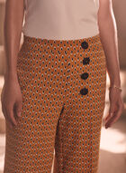 Oval Print Gaucho Pants, Yellow