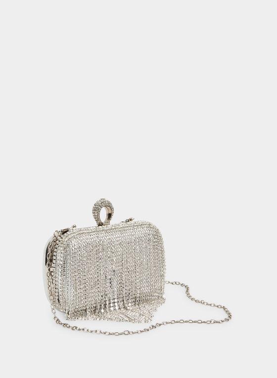 Crystal Cascade Clutch , Silver