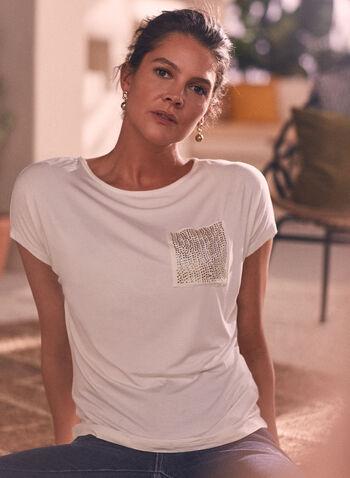 T-shirt à manches courtes et poche , Blanc cassé,  printemps été 2021, haut, t-shirt, poche, pierres du rhin, manches courtes encolure bateau