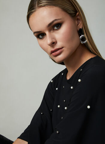Pearl Detail Angel Sleeve Blouse, Black, hi-res