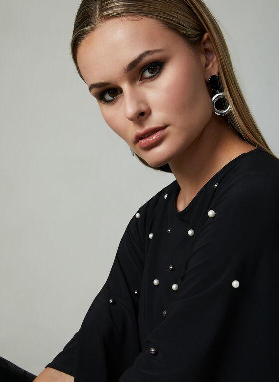 Pearl Detail Angel Sleeve Blouse, Black, hi-res