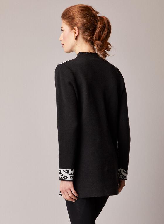 Elena Wang - Leopard Print Knit Tunic, Black