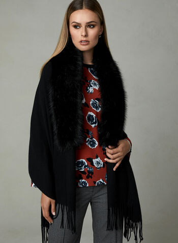 Faux Fur Trimmed Wrap, Black, hi-res