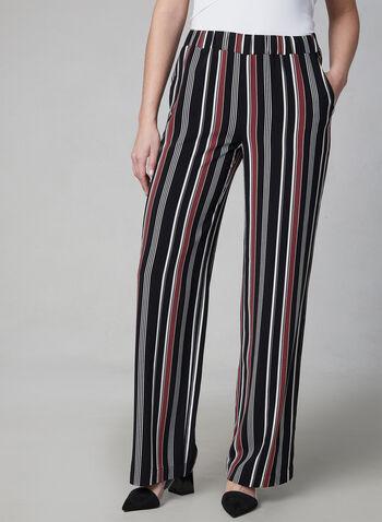 Pantalon rayé à jambe large, Noir, hi-res,  pantalon, pull-on, rayures, jambe large, printemps 2019