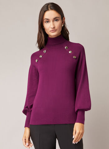 Balloon Sleeve Turtleneck Sweater, Purple,  sweater, turtleneck, balloon sleeves, button details, knit, fall winter 2020