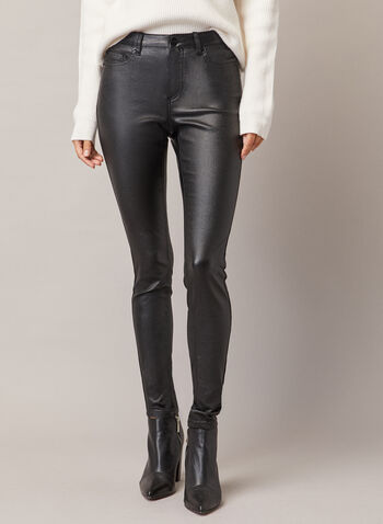 Leather Like Slim Leg Jeans, Black,  fall winter 2020, jeans, slim, coated, coating, shine, shiny, faux leather