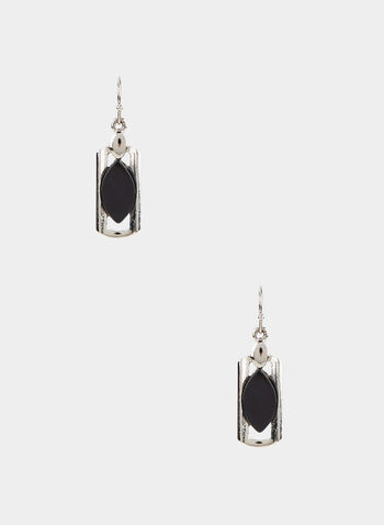 Rectangular Dangle Earrings, Black,  earrings, rectangular dangle, eye-shaped resin, fall 2019