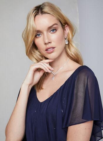 Marina - Robe longue en dentelle pailletée, Bleu,  épaules dénudées, sans manches, maille filet, robe longue