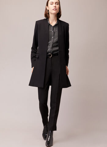 Stripe Print Button Front Blouse, Black,  blouse, shirt collar, buttons, stripe, crepe, fall winter 2020
