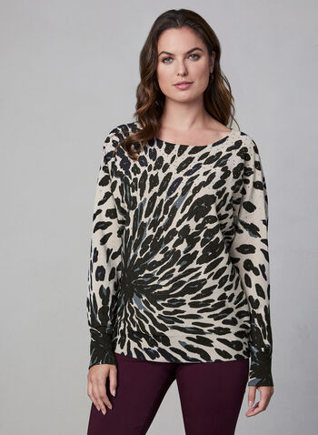 Animal Print Sweater, Brown,  sweater, knit, long sleeves, animal print, rhinestones, fall 2019, winter 2019
