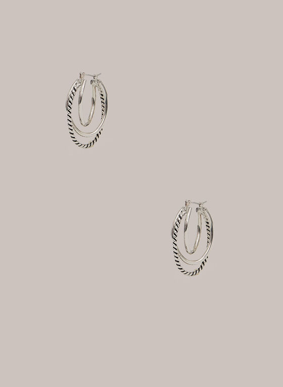 Triple Hoop Earrings, Silver