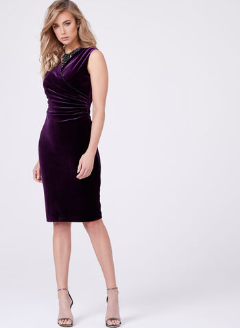 Frank Lyman - V-Neck Velvet Dress, Purple, hi-res