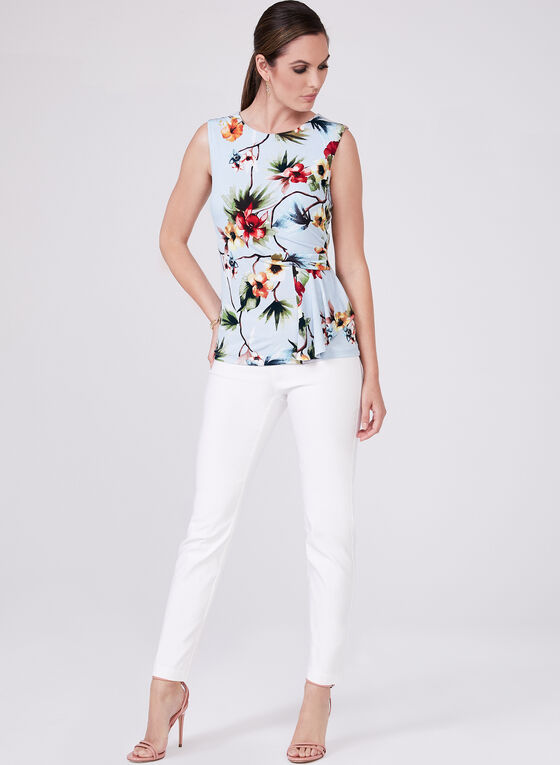 Floral Print Sleeveless Top, Blue, hi-res