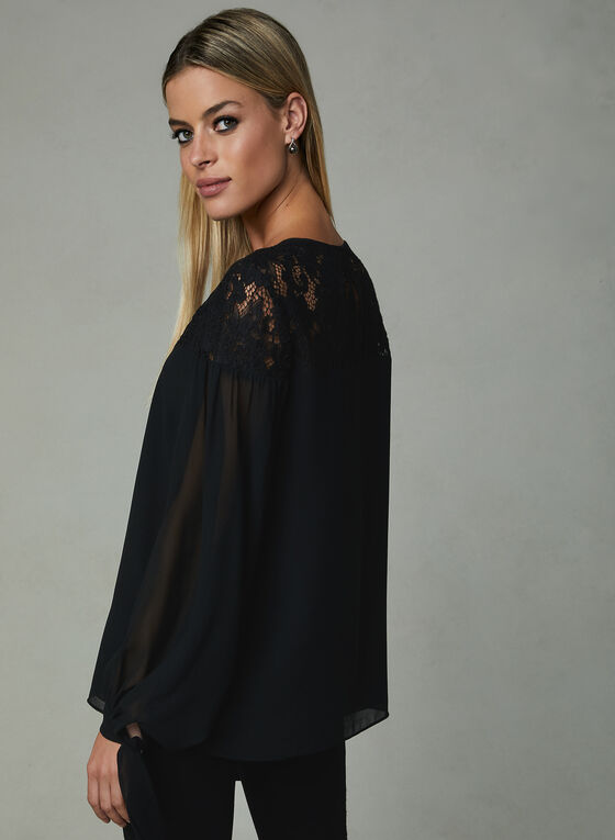 Lace Yoke Chiffon Blouse, Black, hi-res
