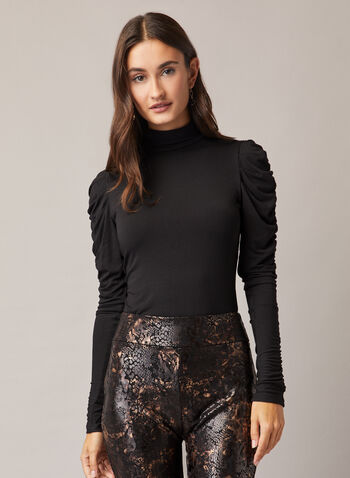 Ruched Sleeve Mock Neck Top , Black,  top, mock neck, ruched sleeves, viscose, fall winter 2020