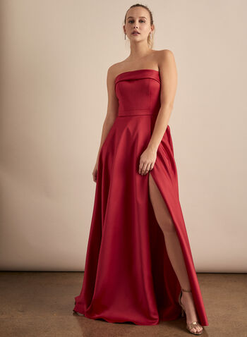 BA Nites - Strapless Satin Dress, Red,  prom dress, gown, a-line, strapless, high slit, pockets, satin, spring summer 2020