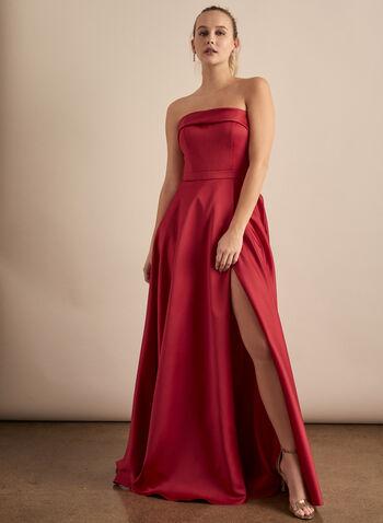 BA Nites - Robe satinée coupe bustier, Rouge,  robe de bal, satin, bustier, poches, portefeuille, printemps été 2020