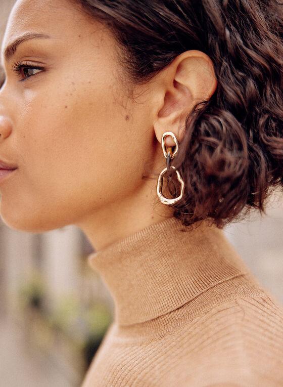 Large Link Dangle Earrings, Brown