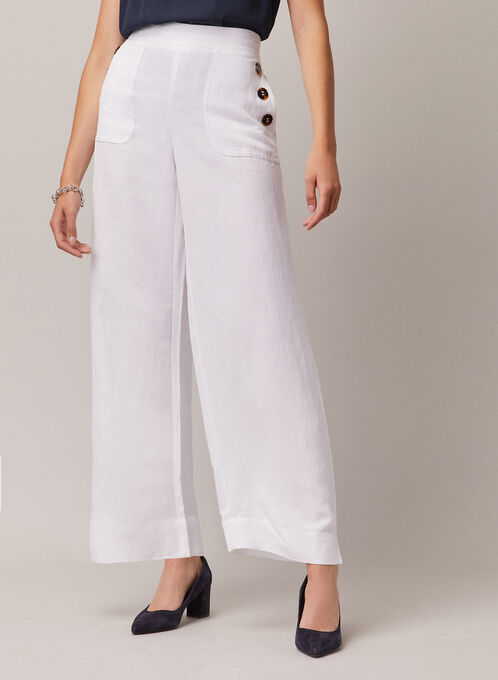 Linen Wide Leg Pants, White