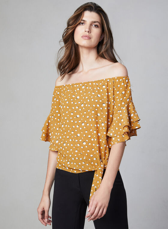 Polka Dot Print Off-the-Shoulder Top, Yellow