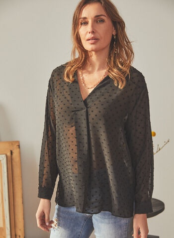 Vince Camuto - Dotted Motif V-Neck Blouse, Black,  top, blouse, long sleeves, v-neck dotted, textured, chiffon, spring summer 2021