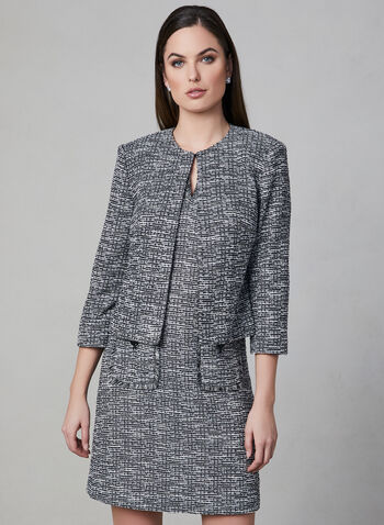 Karl Lagerfeld Paris - Cropped Tweed Jacket, Black, hi-res