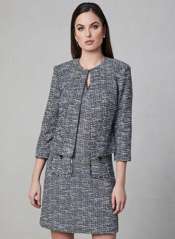 Karl Lagerfeld Paris - Blazer court en tweed, Noir, hi-res