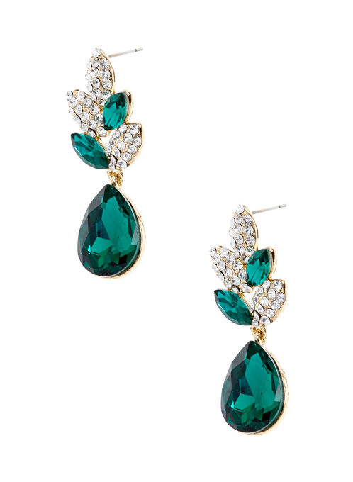 Teardrop Crystal Dangle Earrings, Green, hi-res