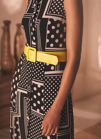 Joseph Ribkoff - Robe maxi à motifs géométriques, Noir,  robe longue, fait au canada, col chemisier, boutonnage au devant, motif géométrique, printemps été 2021