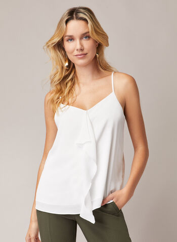 Ruffle Detail Camisole, Off White,  top, camisole, spaghetti straps, ruffle, v-neck, fall winter 2020
