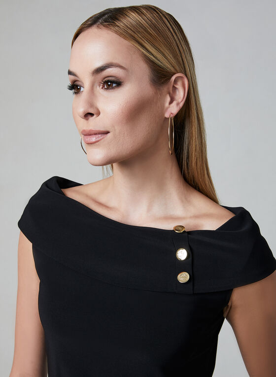 Off-the-Shoulder Top, Black, hi-res