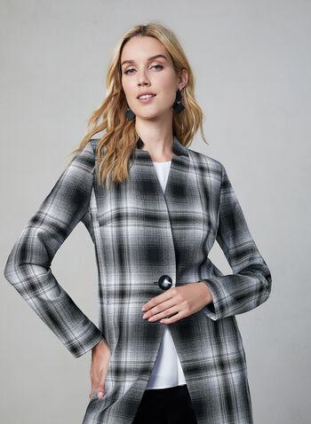 Plaid Print Redingote Jacket, Black, hi-res,  long sleeves, notch collar, fall 2019, winter 2019